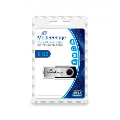 MediaRange MR908 USB flash drive 8 GB USB Type-A / Micro-USB 2.0 Black,Silver